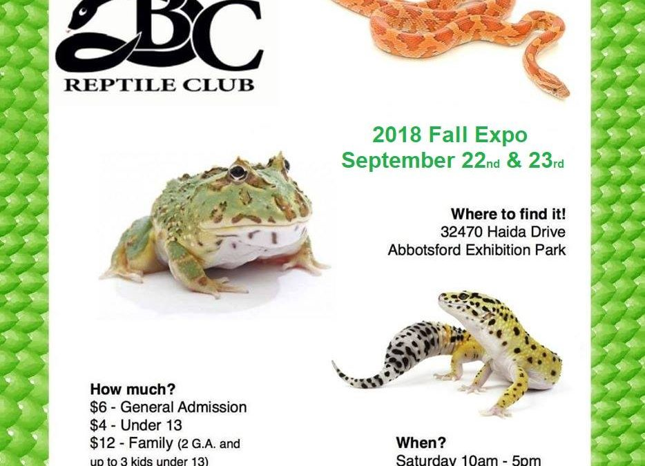 BC Reptile Club Fall Show: Sept 22 & 23